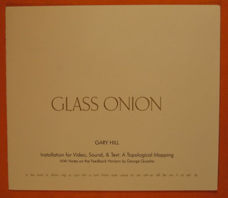 Image for Glass Onion -- Gary Hill: installation for Video, Sound, & Text: a Topological Mapping