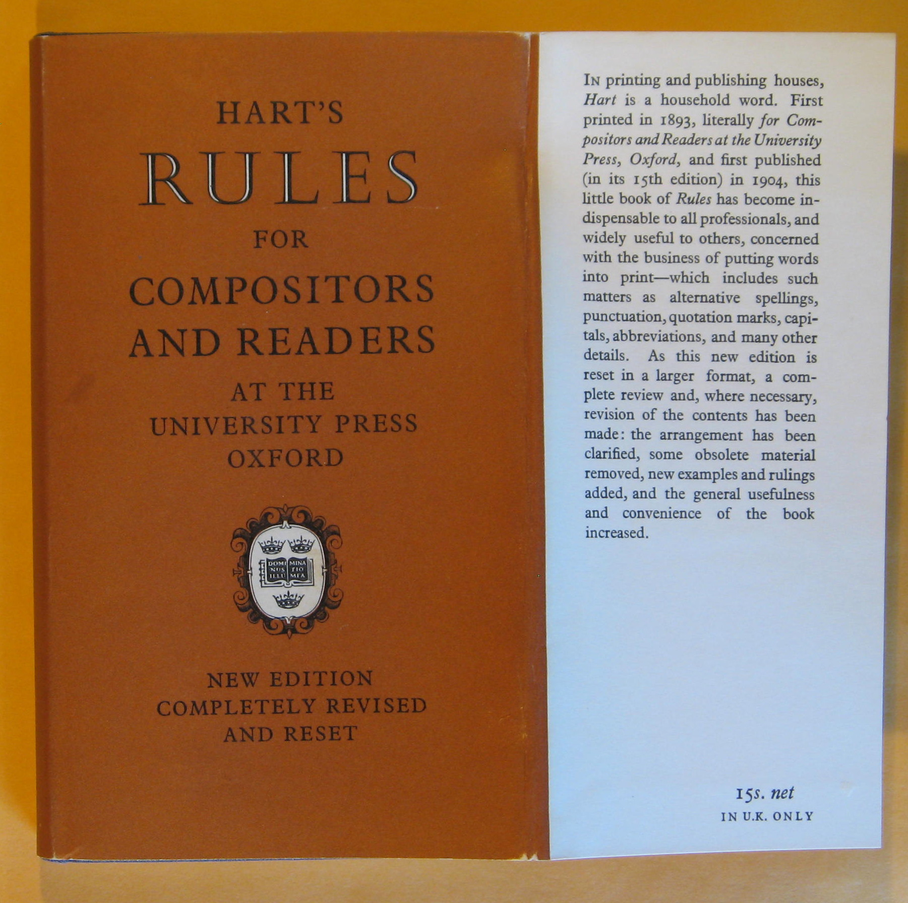 Image for Hart's Rules for Compositors and Readers at the University Press Oxford (37th edition)